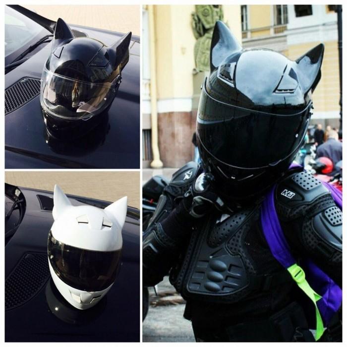 Кошачьи ушки на мотошлем