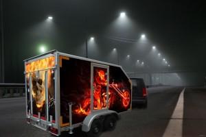 Прицеп-фургон для перевозки мототехники двухосный (автодом)